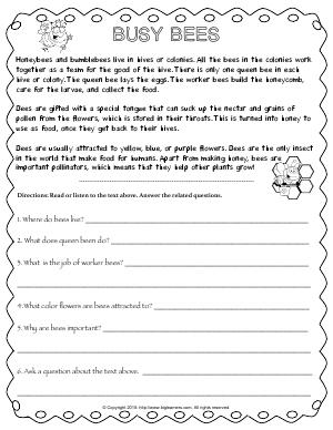 Preview image for worksheet with title Busy Bees