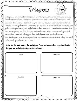 Preview image for worksheet with title Octopuses