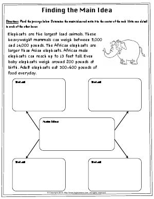 Preview image for worksheet with title Finding the Main Idea