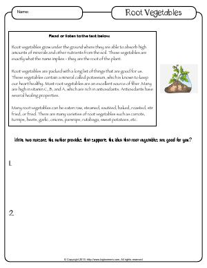 Preview image for worksheet with title Root Vegetables