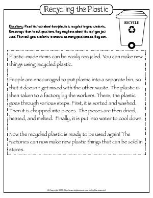 Preview image for worksheet with title Recycling the Plastic