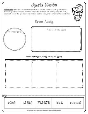 Preview image for worksheet with title Sports Mania