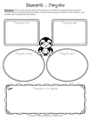 Preview image for worksheet with title Research : Penguins