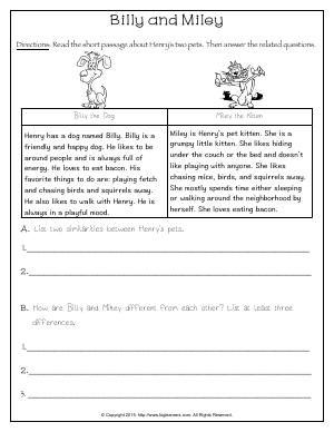Preview image for worksheet with title Billy and Miley