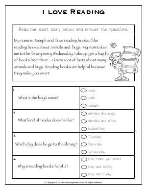 Preview image for worksheet with title I love Reading