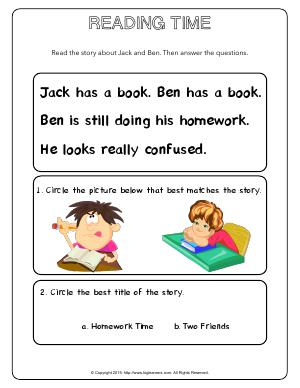Preview image for worksheet with title Reading Time