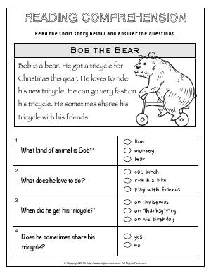 Preview image for worksheet with title Reading Comprehension
