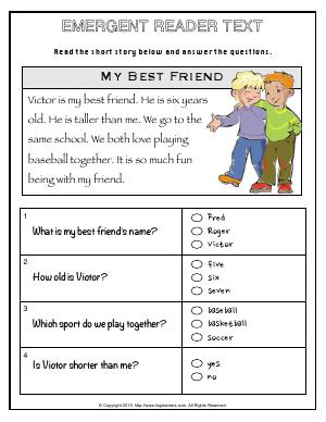 Preview image for worksheet with title Emergent Reader Text