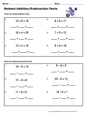 Preview image for worksheet with title Related Addition/Subtraction Facts