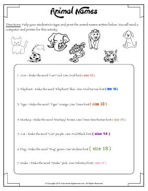 Preview image for worksheet with title Animal Names