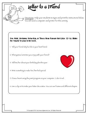 Preview image for worksheet with title Letter to a Friend