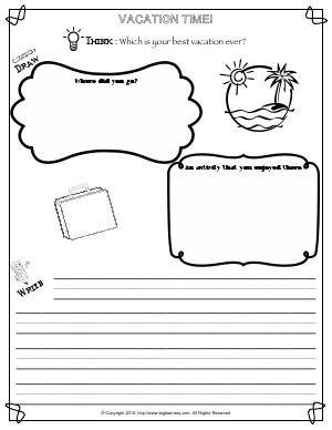 Preview image for worksheet with title Vacation Time!