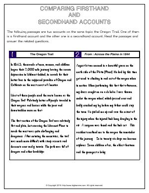 Preview image for worksheet with title Comparing Firsthand  and  Secondhand Accounts