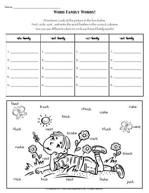 Preview image for worksheet with title Word Family Words!