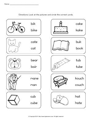 Preview image for worksheet with title Correct Word
