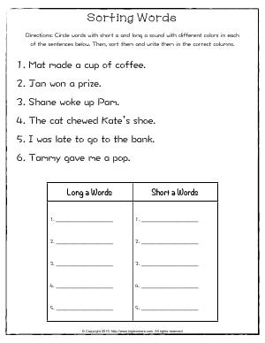 Preview image for worksheet with title Sorting Words