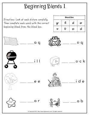 Preview image for worksheet with title Beginning Blends 1 (gr, fl, cl, cr, tr, fr, st,	sl)