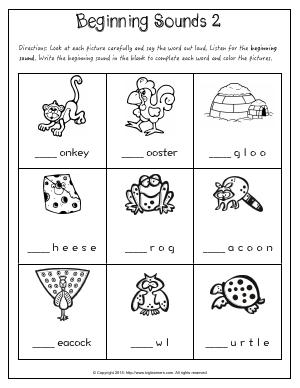 Preview image for worksheet with title Beginning Sounds 2