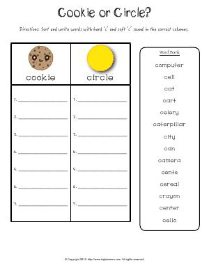 Preview image for worksheet with title Cookie or Circle?