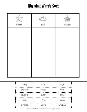 Preview image for worksheet with title Rhyming Words Sort