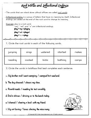 Preview image for worksheet with title Root Words and Inflectional Endings