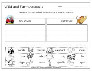 sort words into by categories first grade english worksheets biglearners. Black Bedroom Furniture Sets. Home Design Ideas