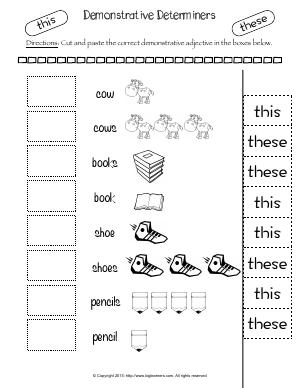 Preview image for worksheet with title Demonstrative Determiners  (These & This)