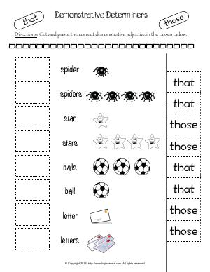 Preview image for worksheet with title Demonstrative Determiners (That & Those)
