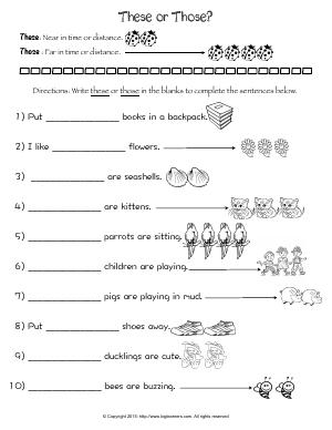 Preview image for worksheet with title These or Those?