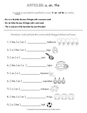 Preview image for worksheet with title Articles: a, an, the