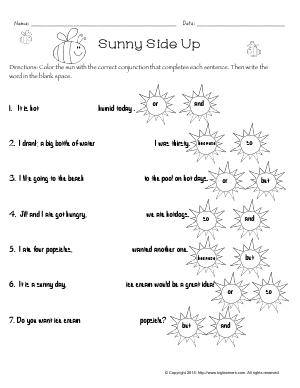 Preview image for worksheet with title Sunny Side Up