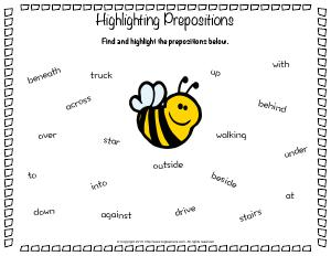 Preview image for worksheet with title Highlighting Prepositions