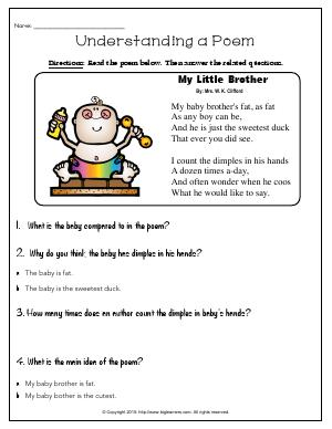 Preview image for worksheet with title Understanding a Poem