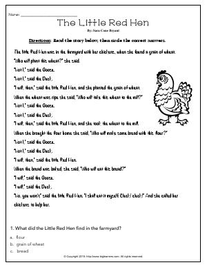 Preview image for worksheet with title The Little Red Hen