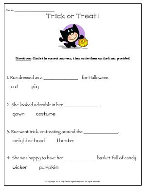 Preview image for worksheet with title Trick or Treat!