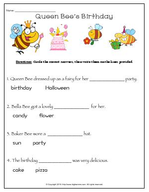 Preview image for worksheet with title Queen Bee's Birthday