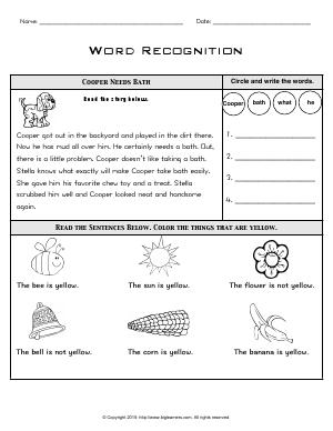 Preview image for worksheet with title Word Recognition