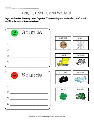 Preview image for worksheet with title Say it, Sort it, and Write it