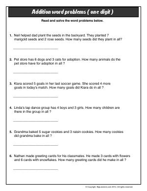 Preview image for worksheet with title Addition Word Problems (one digit)