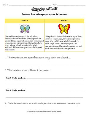 Preview image for worksheet with title Comparing Two Texts
