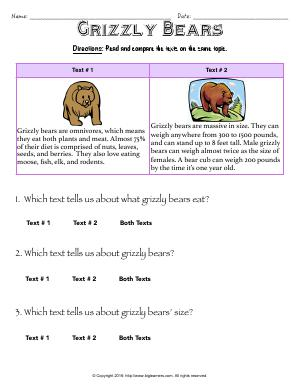 Preview image for worksheet with title Grizzly Bears