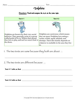 Preview image for worksheet with title Dolphins