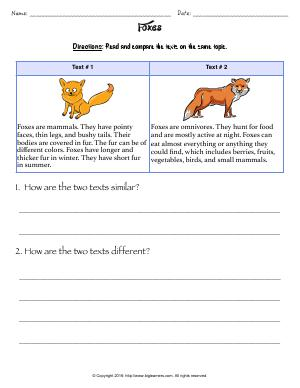 Preview image for worksheet with title Foxes