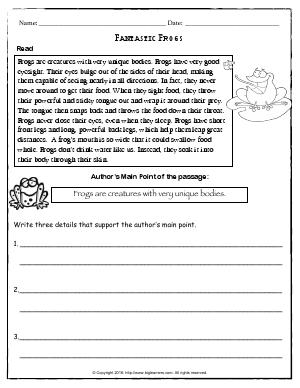 Preview image for worksheet with title Fantastic Frogs