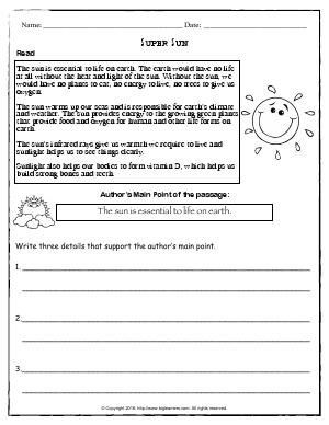 Preview image for worksheet with title Super Sun