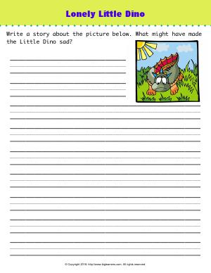 Preview image for worksheet with title Lonely Little Dino