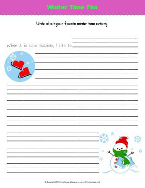 Preview image for worksheet with title Winter Time Fun