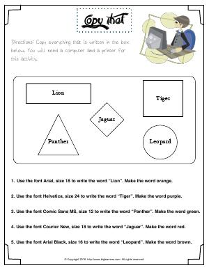 Preview image for worksheet with title Copy That