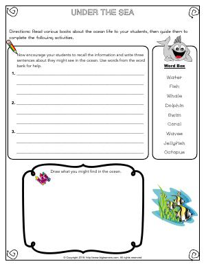 Preview image for worksheet with title Under the Sea
