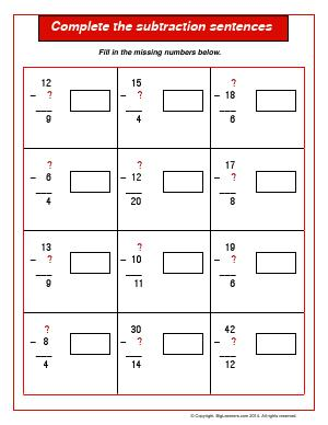 Preview image for worksheet with title Complete the Subtraction Sentences